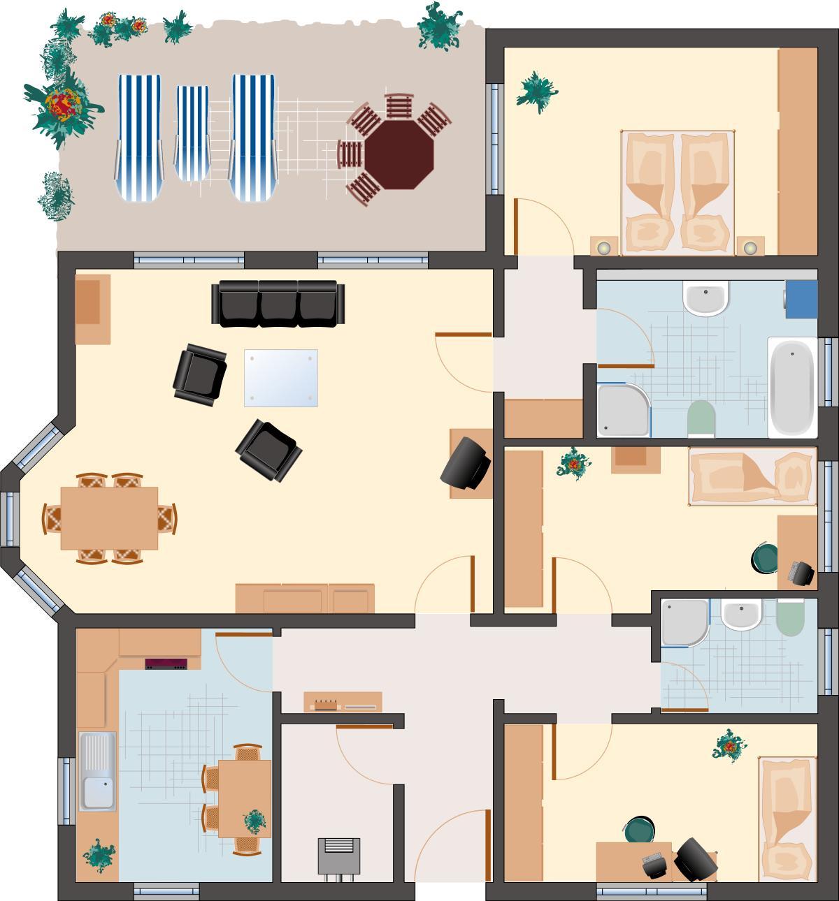Winkelbungalow Beryll 142 - Erdgeschoss