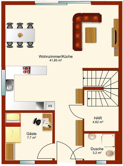 Doppelhaus Tsavorit 118 - Erdgeschoss
